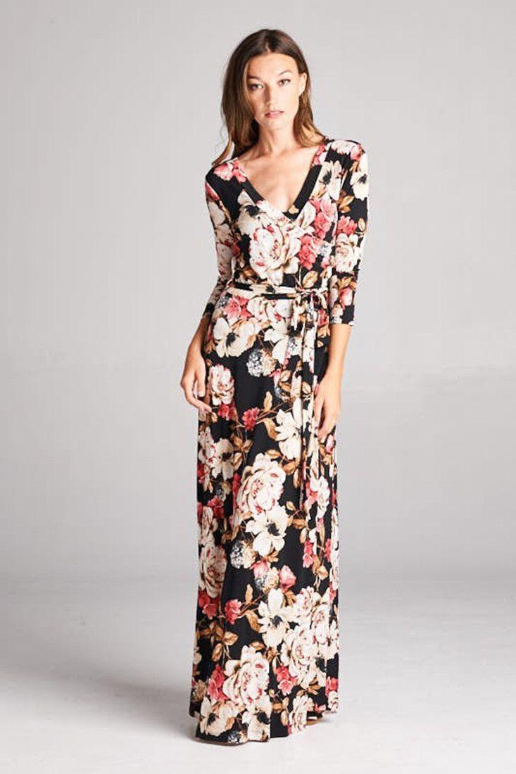 3 4 Sleeve Black Floral Bohemian Maxi Dress Maxi Dress Bohemian Maxi Dress Lounge Fashion [ 1100 x 733 Pixel ]