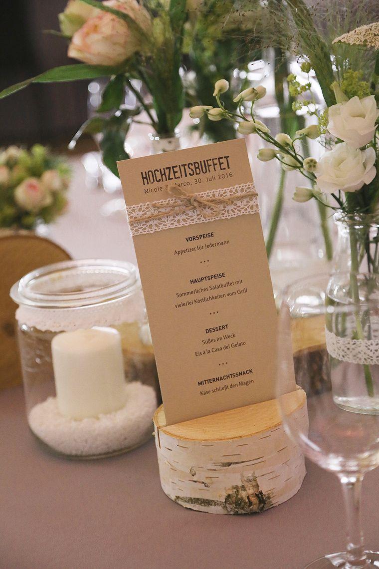 Menkarte VINTAGE mit Spitze  Hochzeit  Menkarten