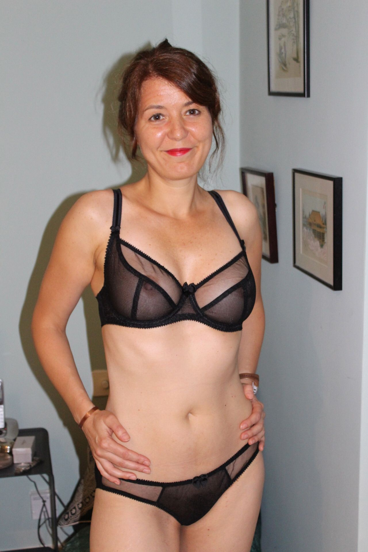Hot older cougar see thru bra