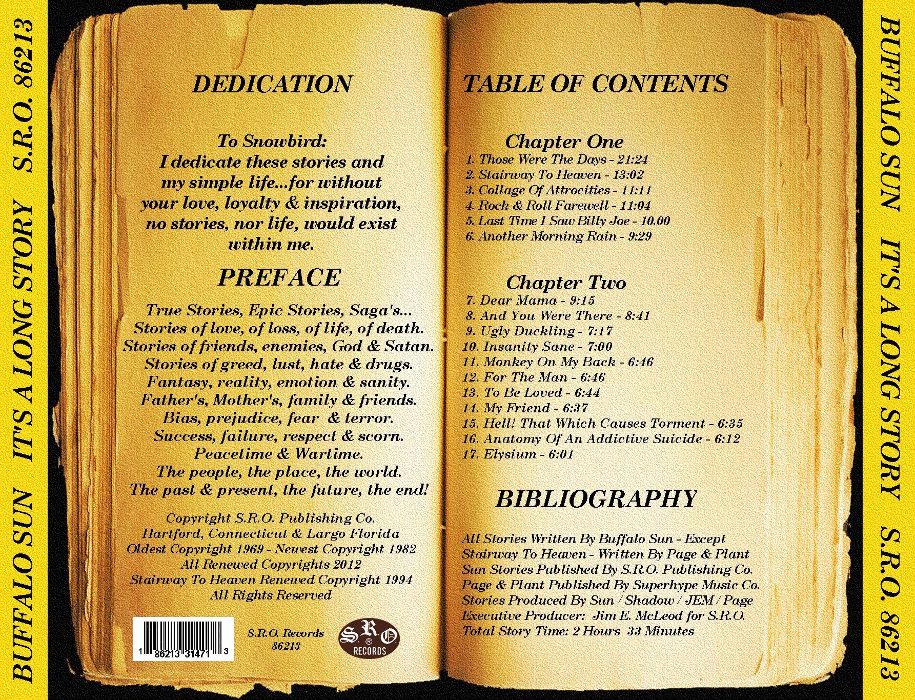 Buffalo Sun It S A Long Story S R O Records 86213 Side B Buffalo Chapter One Long Stories