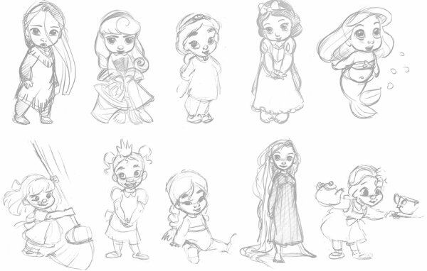 Bébés princesses Disney   Croquis disney, Dessins disney ...