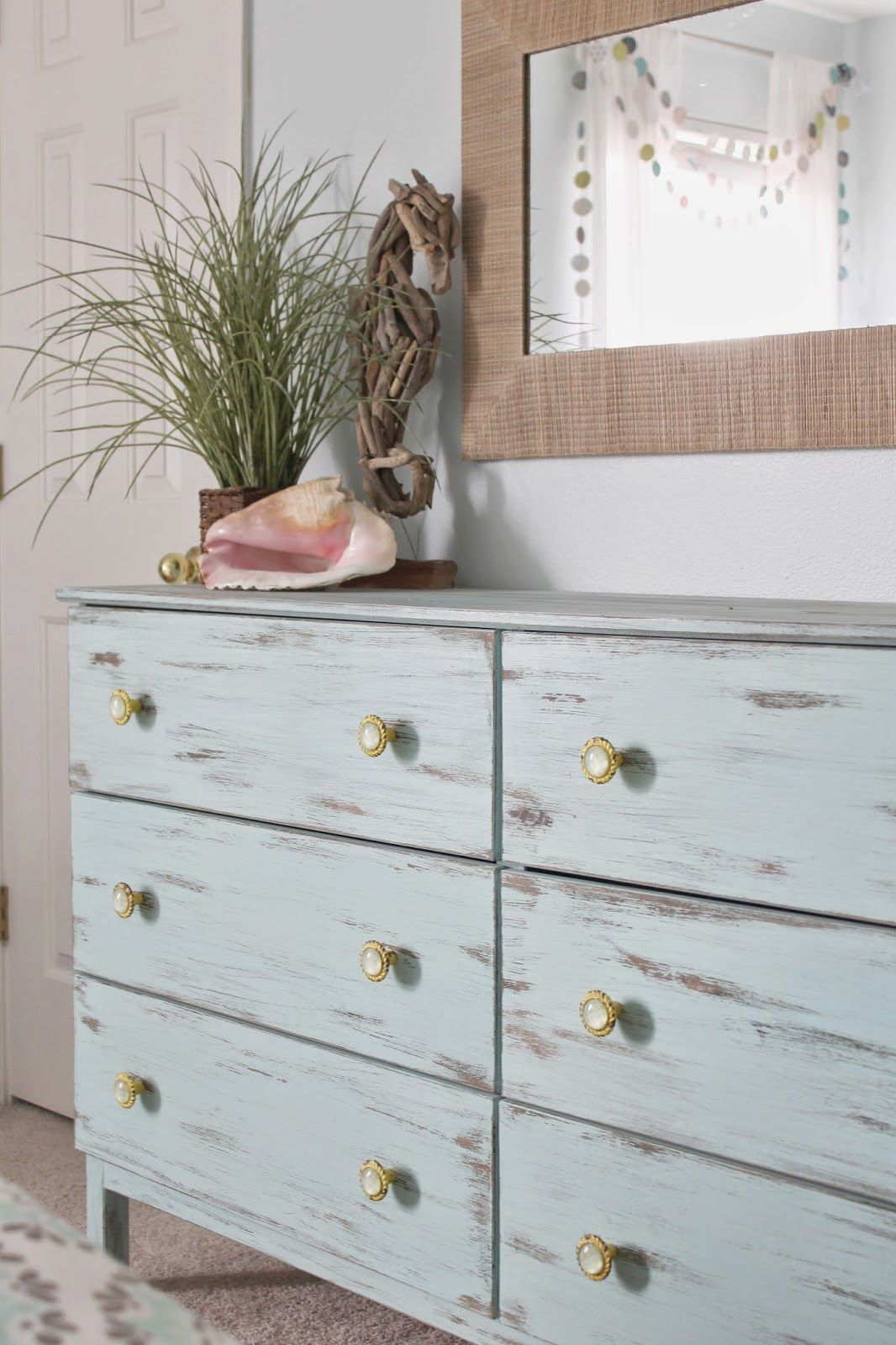 Yellow shabby chic furniture - Shabby Chic Meets Beach Themed Bedroom Perfect For A Girl Tween Unfinished Furniture Painted With An Aqua And Distress Custom Knobs In Yellow
