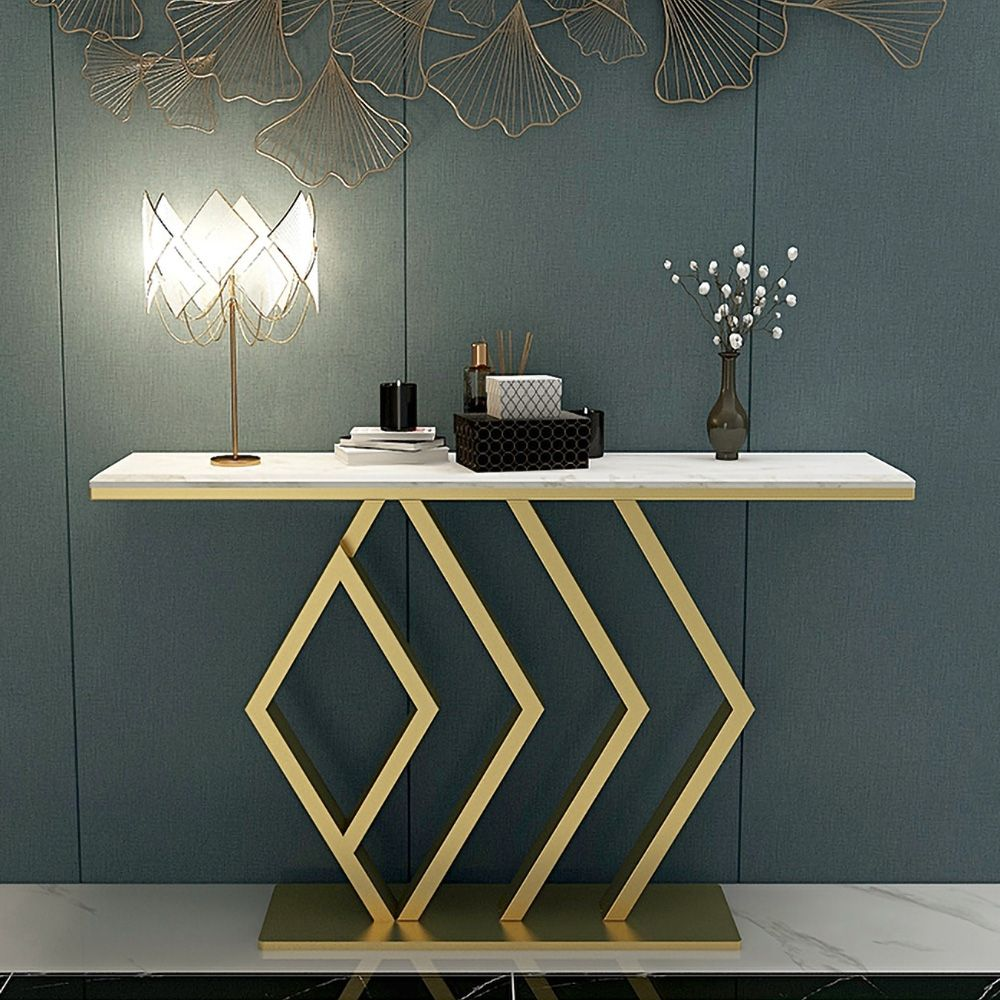 White Rectangular Narrow Console Table Luxury Modern Faux Marble Accent Table In Gold In 2021 Marble Accent Table Console Table Luxury Modern Console Table Luxury