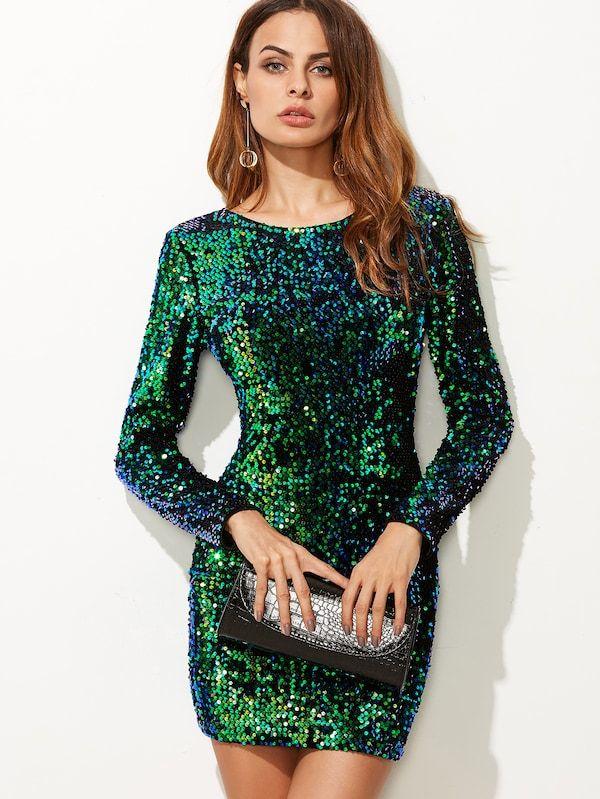 Vestido Ajustado De Lentejuelas Verde Spanish Shein
