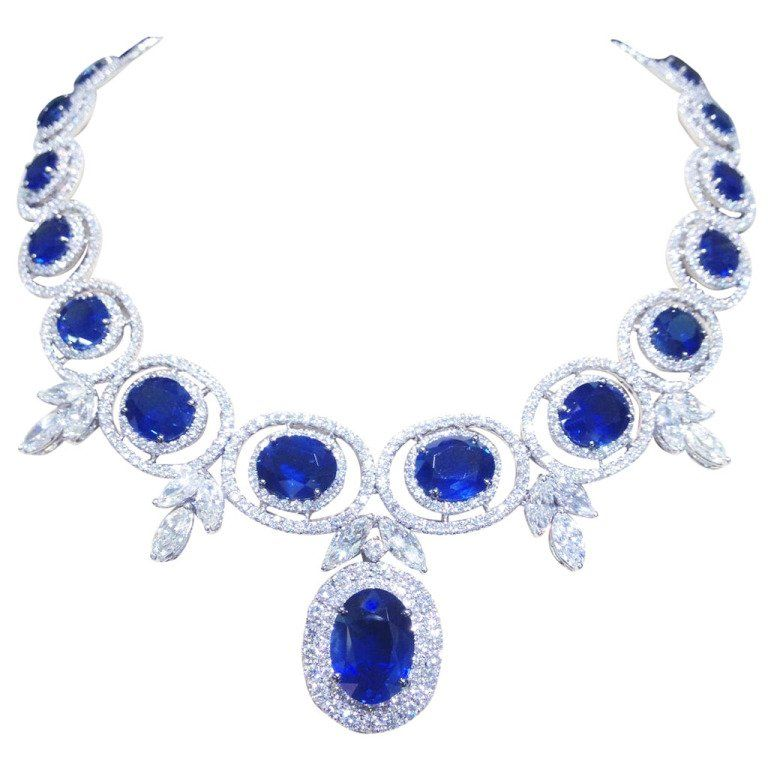 necklace sapphire two set diamond tone gold ruby emerald index
