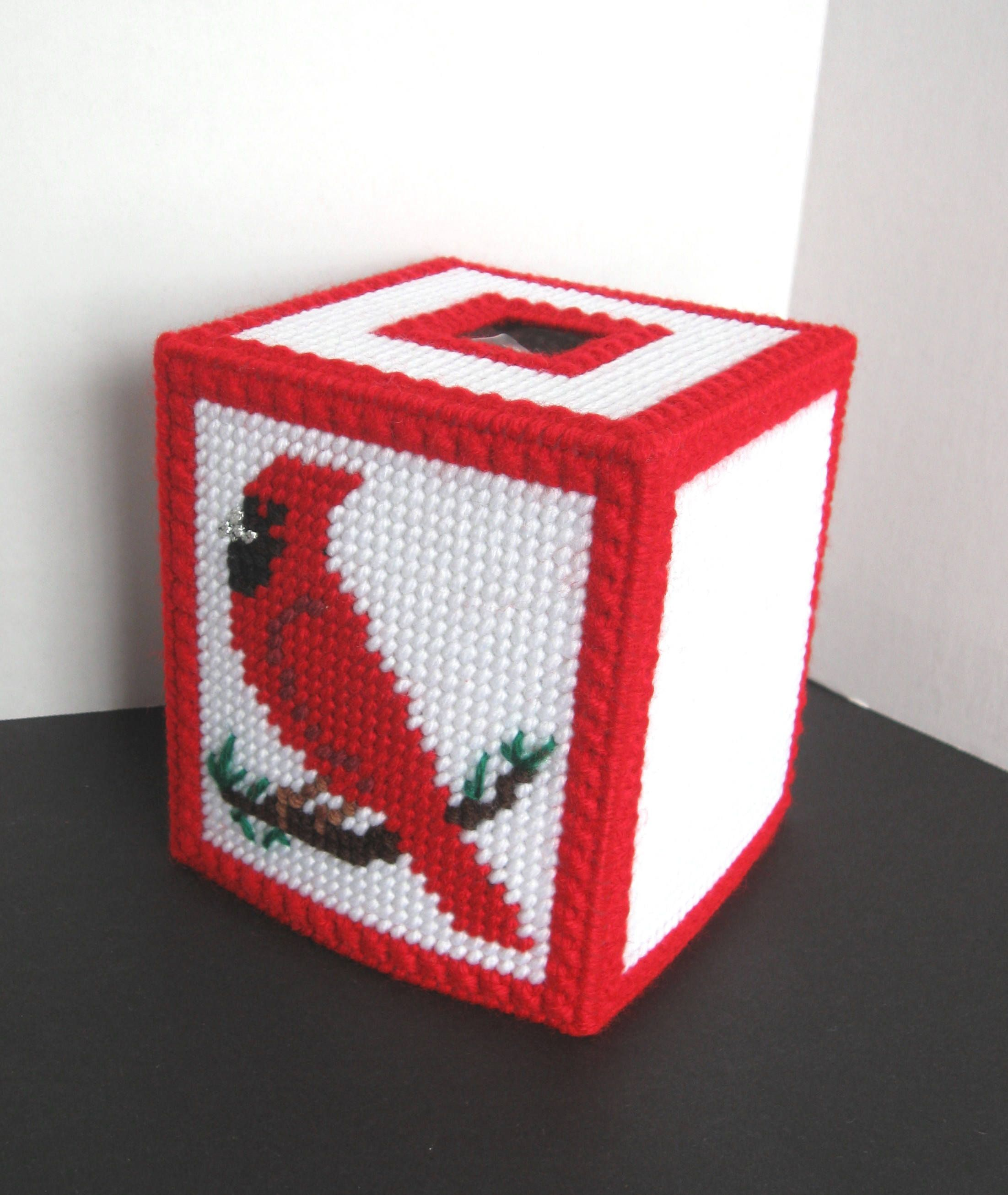 Plastic Canvas Red Cardinal Boutique Tissue Box Cover - White Background