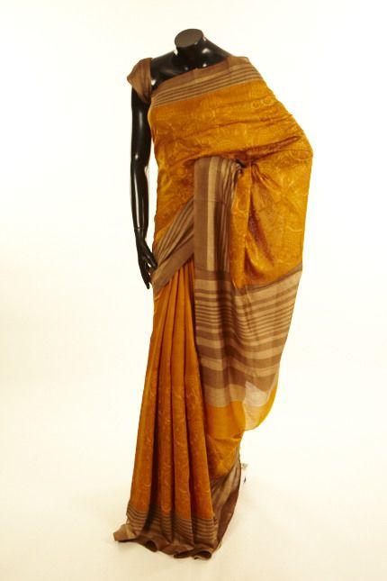 tussar rust saree with blouse