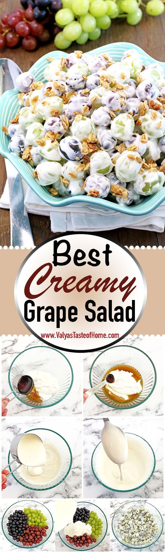 This Best Creamy Grape Salad is a delicious blend of fresh juicy grapes in a creamy vanilla yogurt dressing, sprinkled with homemade granola, and a touch of sweet and sour is a perfect way to sweeten up a picnic, backyard family gathering or any summer occasion. #fruitsalad #grapesalad #valyastasteofhome #bestcreamygrapesalad #vanillayogurt This Best Creamy Grape Salad is a delicious blend of fresh juicy grapes in a creamy vanilla yogurt dressing, sprinkled with homemade granola, and a touch of #vanillayogurt