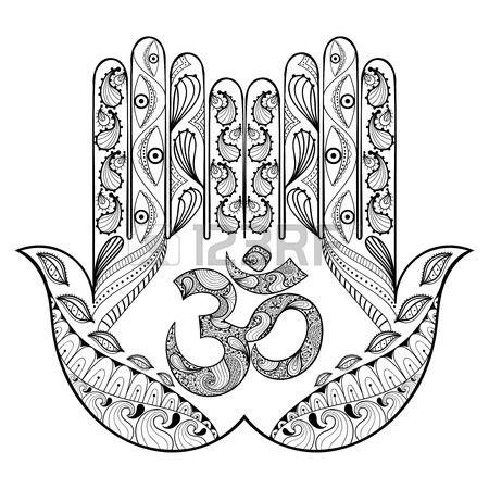 Hand gezeichnet Schutz Hamsa Hand f r Erwachsene Malvorlagen in ...