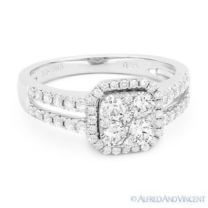 The featured ring is cast in 14k white gold and showcases a square-shaped centerpiece paved with round cut diamonds set on a halo setting with splitshank bands encrusted with round cut diamond accents .