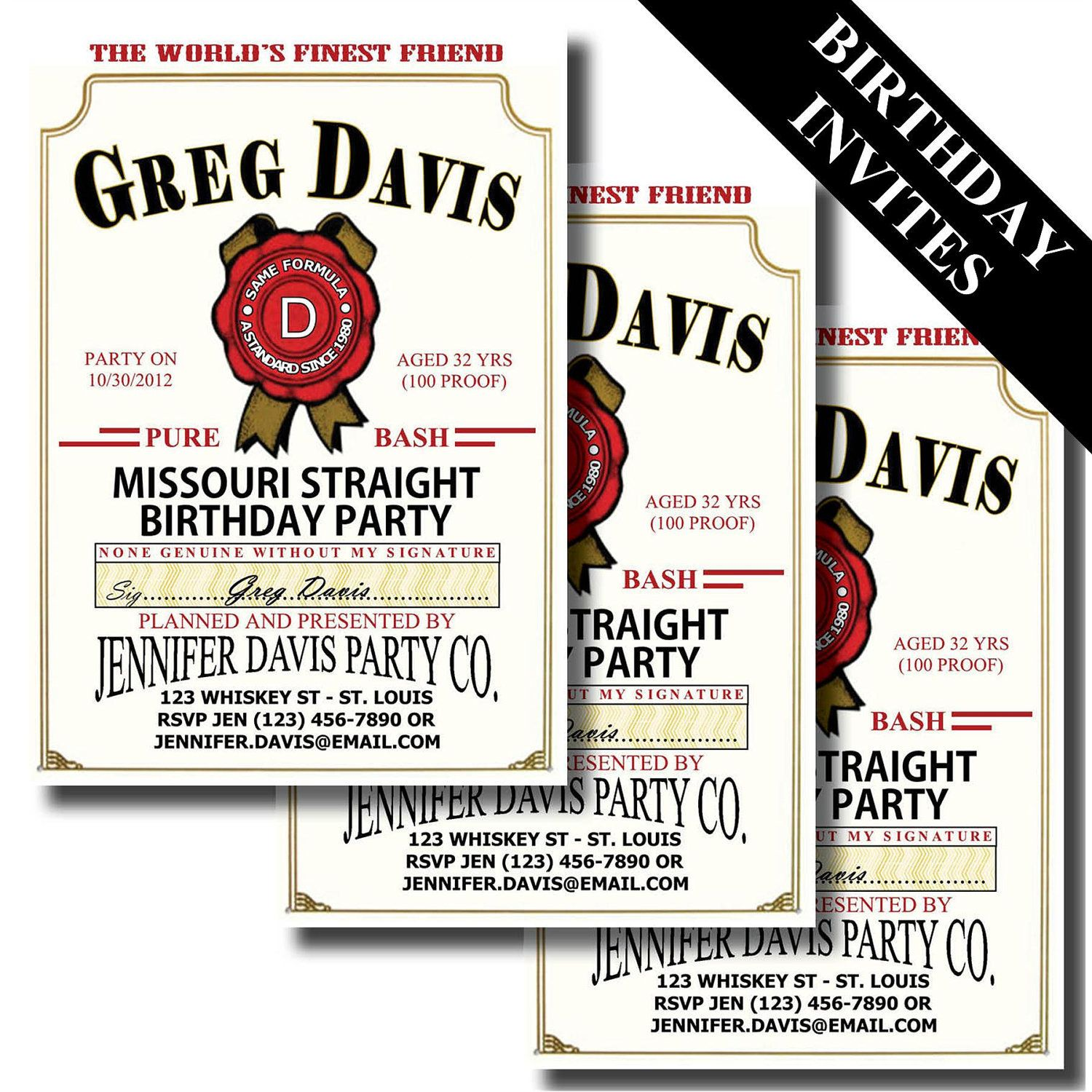 JIM BEAM LABEL Birthday Party Invite