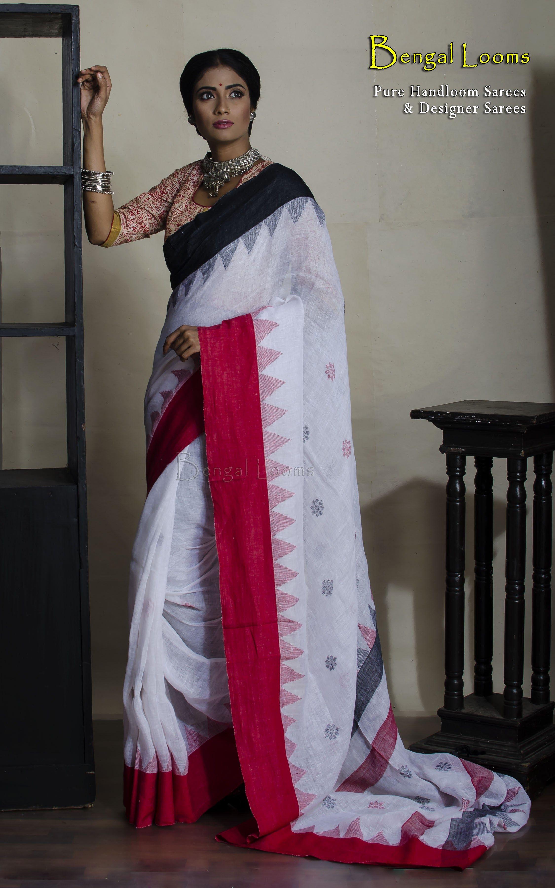 be1e73c868 Pure handloom linen jamdani saree with ganga jamuna border in white , red  and black color combination.