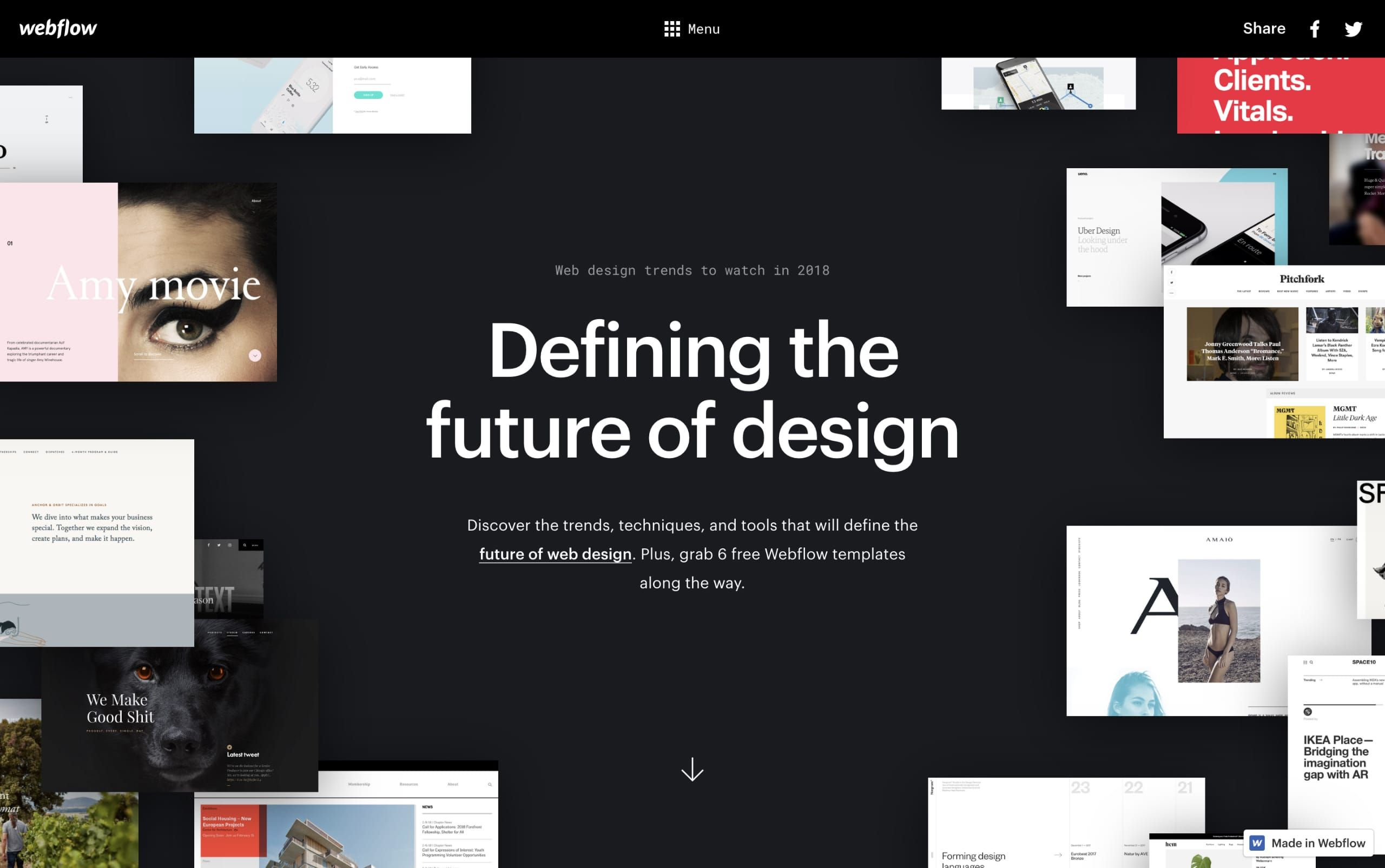 Excellent One Page Website By Webflow Curating Web Design Trends To Watch In 2018 Each Section Background Is Designed Design Trends 2018 Design Trends Design