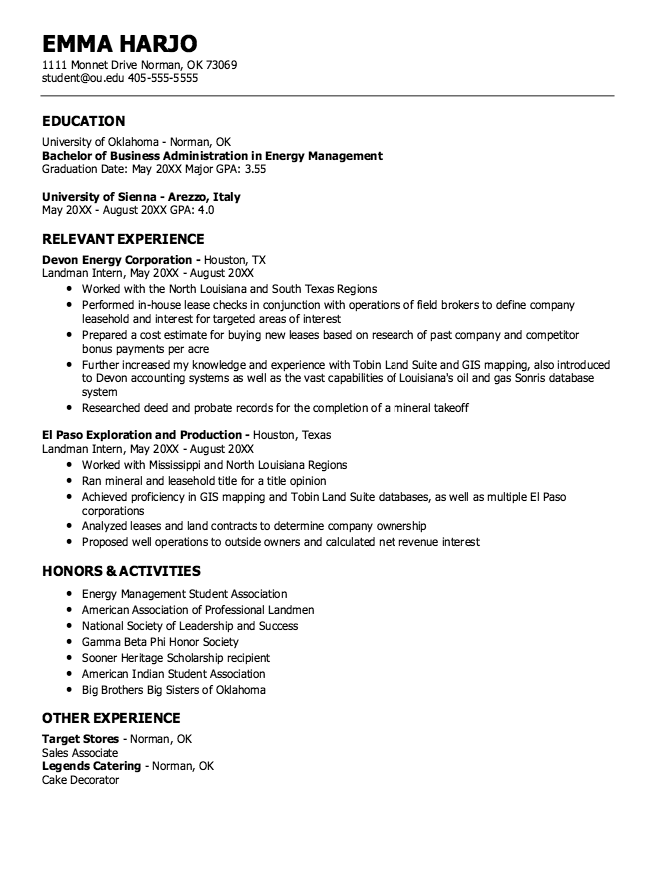 Example Of Energy Management Resume Examples Resume Cv