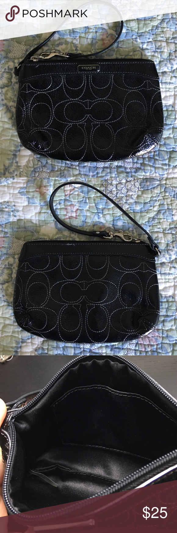 Coach Patent Wristlet Coach patent leather wristlet. No damage. Like new except the tag that usually hangs on the strap has fallen off. Coach Bags Clutches & Wristlets