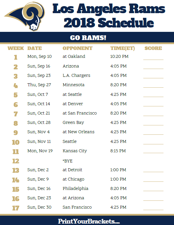 Printable 2018 Los Angeles Rams Football Schedule Los Angeles Rams Los Angeles Rams Football