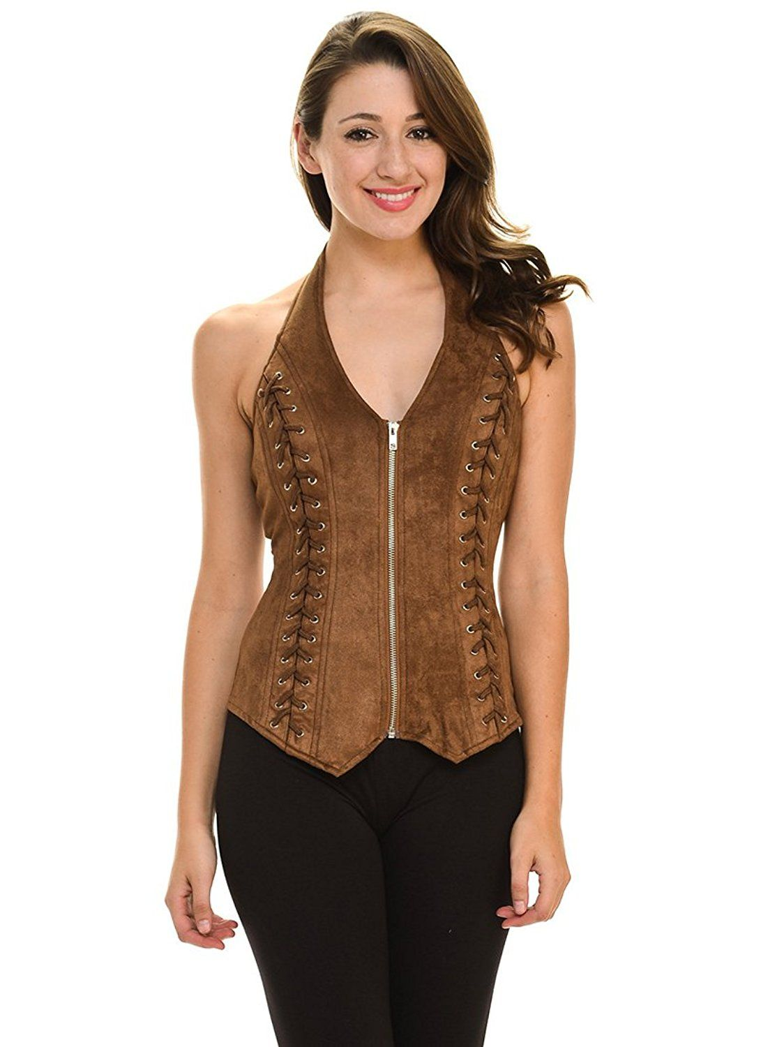 890c80fc97 Lydia Sexy Women Suede Side Crisscrossed Zipper Halter Vest (L3532)    This  is an Amazon Affiliate link. Continue to the product at the image link.