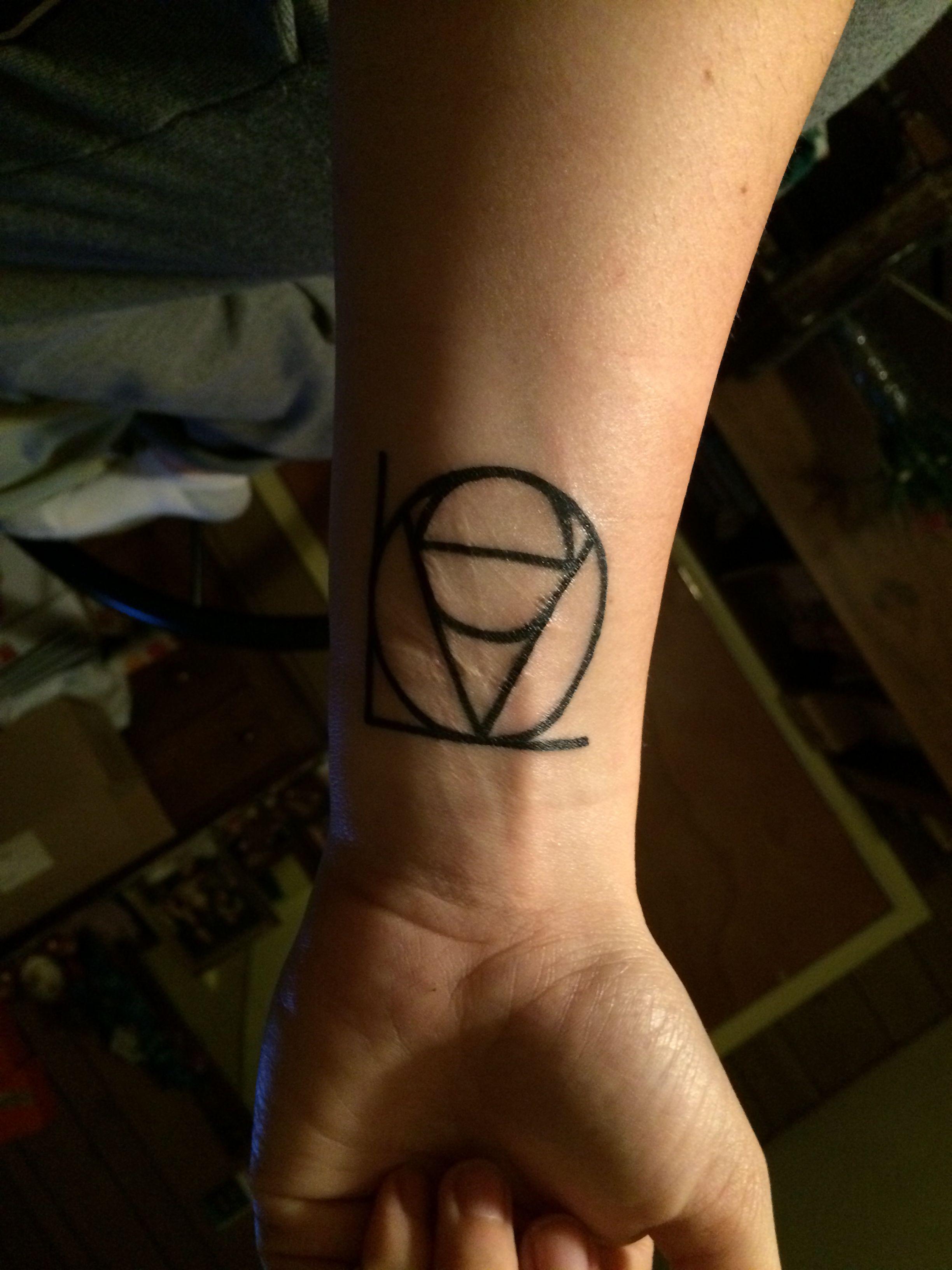 Geometric Love tattoo on the wrist ❤️