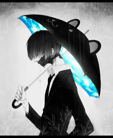 Black And White Anime Guy With Black Mask And Black Bear Umbrella With Bright Blue Pattern For The Inside Hawt Anime Anime Art Beautiful Manga Anime