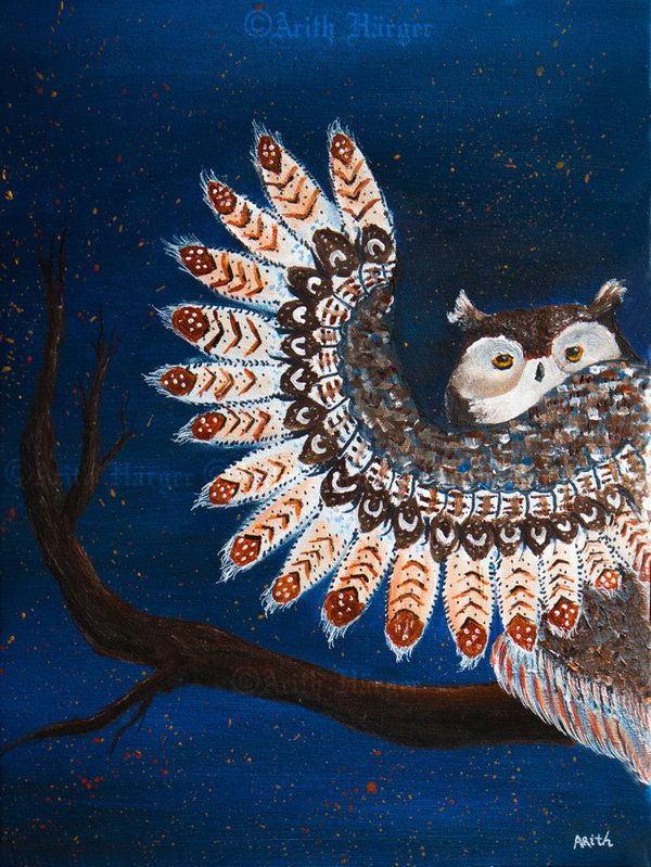 A fire started - Acrylic on Canvas 30x40 - 2014 By: Arith Härger --- #Arith #Härger #Harger #Art #Owl