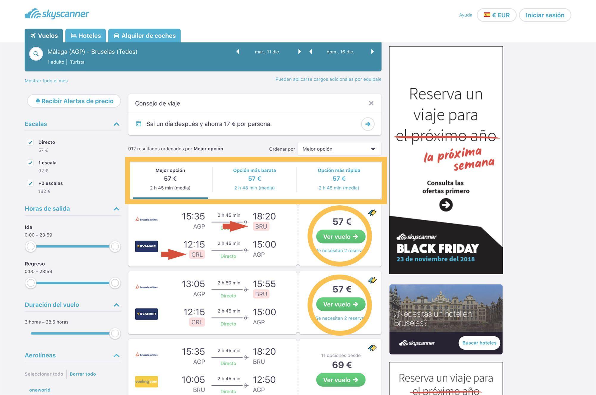 Cómo buscar vuelos baratos con Skyscanner