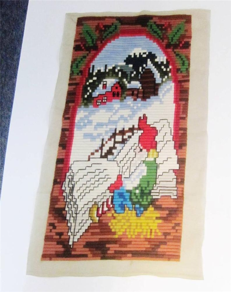 """#Needlepoint Completed #LongStitch Gnome #Tomte Elf Norway Christmas Scene 15x30"""""""