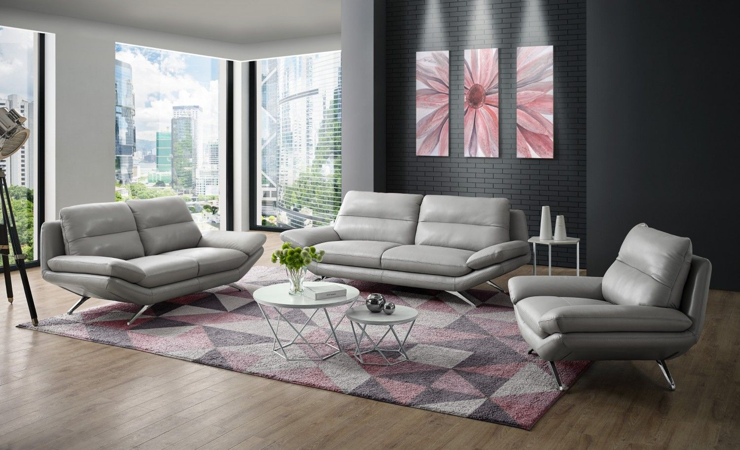Milo Modern Living Room Set In Light Grey Leather By Creative