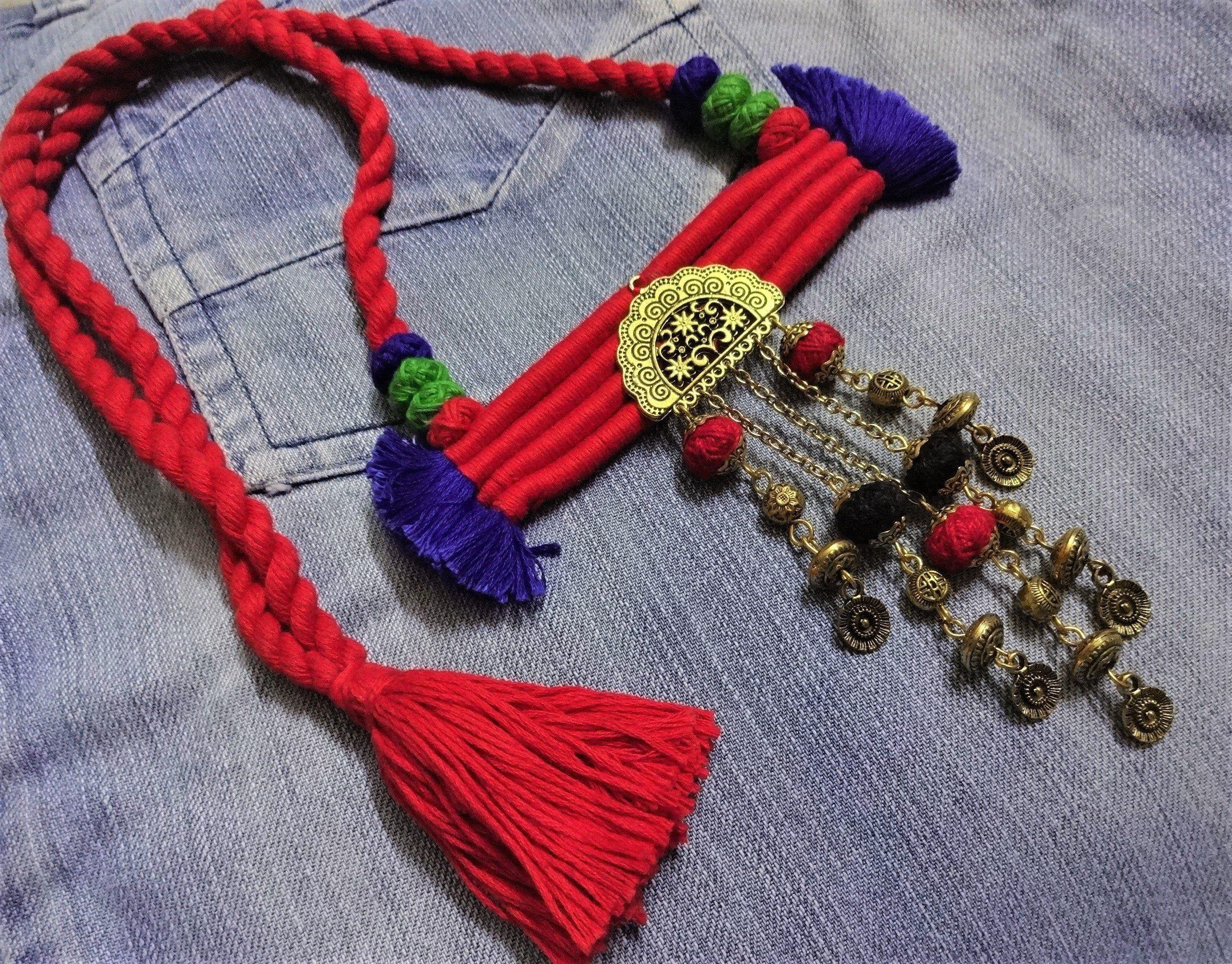 Tibétain Ethnique Banjara Tribal Inde fait main Boho Ambre Résine Noir Collier 777