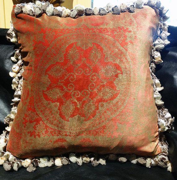 Designer Pillow Vintage Venetian Silk Velvet By Elegantartifacts Designer Pillow Pillows Silk Velvet
