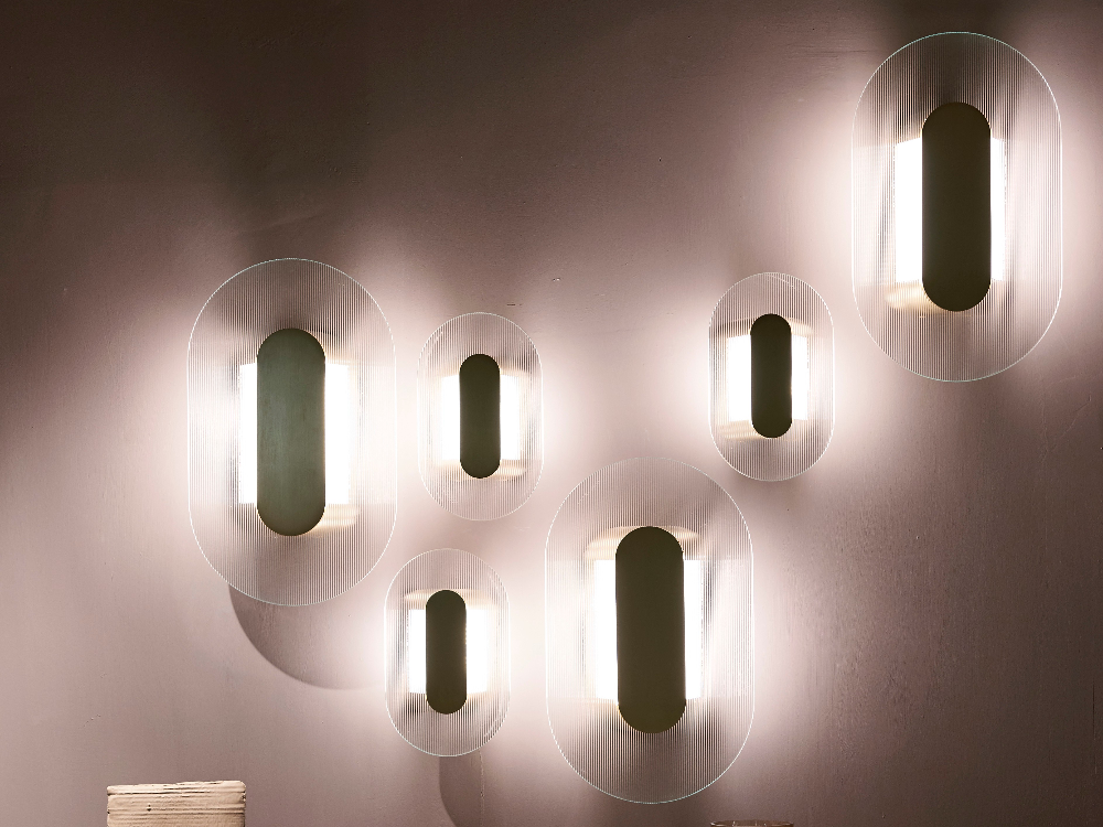 Led Indirect Light Glass Wall Light Button By Baxter Design Federico Peri Glass Wall Lights Wall Lights Glass Wall