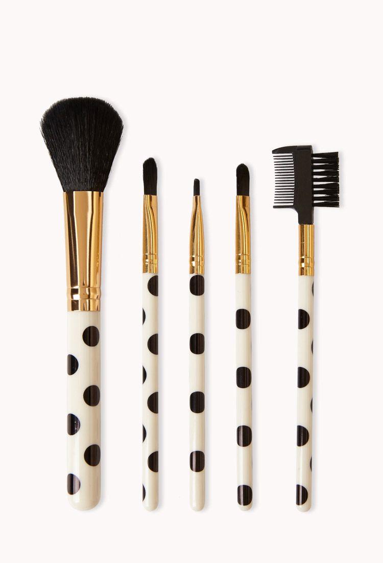 Polka Dot Cosmetic Brush Set