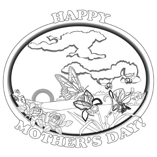 Mother\'s Day Coloring card - 12/pk Size: 7 x 7