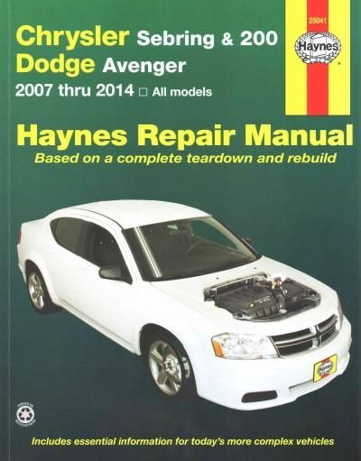 Haynes chrysler sebring 200 and dodge avenger 2007 thru 2014 with a haynes manual you can do it yourselfom simple maintenance to basic repairs haynes writes every book based on a complete teardown of the veh solutioingenieria Images