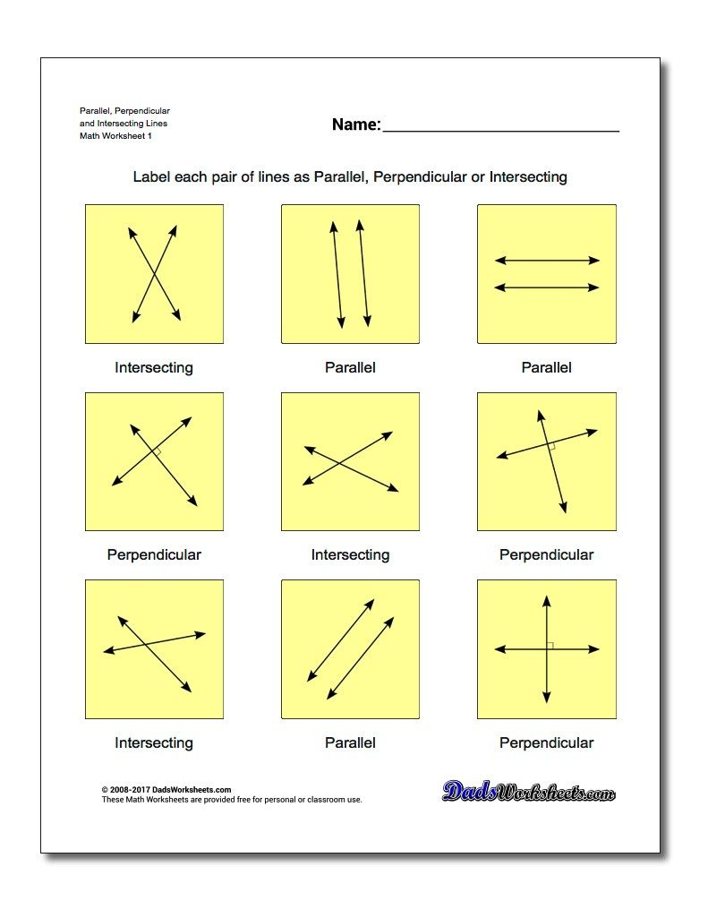 Worksheets Intersecting Lines Worksheet parallel perpendicular and intersecting lines basic geometry worksheet lines