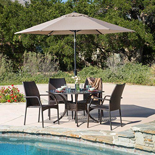 Traditional Contemporary Style Libson Circular Outdoor 5piece Aluminum Cast Wicker Set with Bronze Finish  Assembly Required -- You can find out more details at the link of the image.(This is an Amazon affiliate link and I receive a commission for the sales)