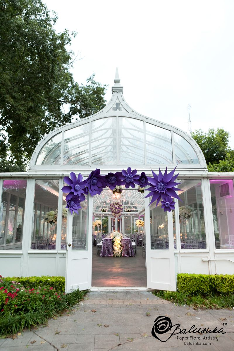 Handmade Paper Flowers Create A Beautiful Purple Focal Point To The