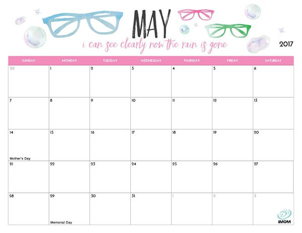 2017 Printable Calendar for Moms Printable calendars, Planners - vacation calendar template