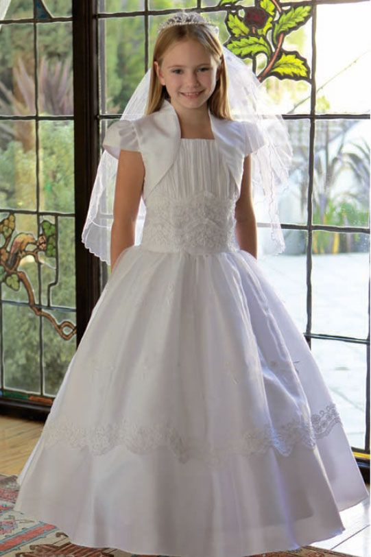e5d0bd1c03 First Communion Dress---lovely I d do without that tiara!