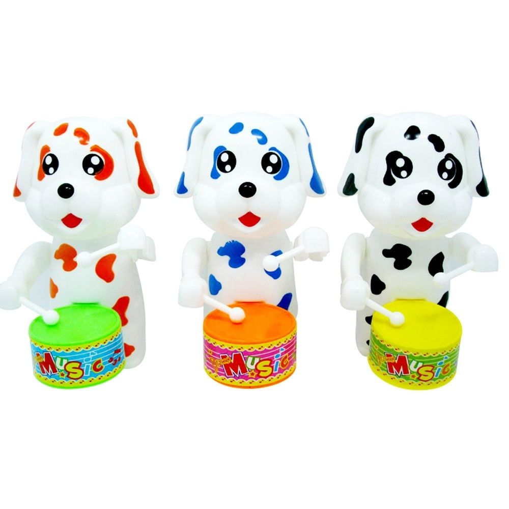 Kids Cartoon Dogs Drumming Wind Up Toys For Children Vintage