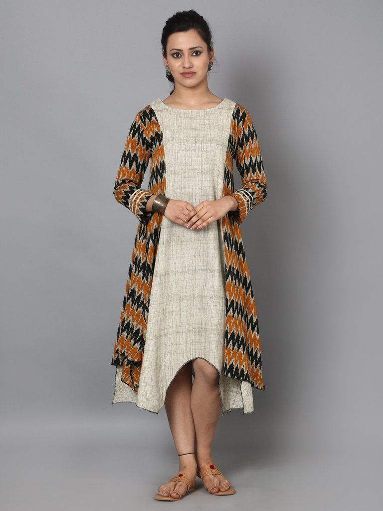 9610d6b510 Mustard Brown Off White Handloom Ikat Cotton Dress | THE LOOM ...