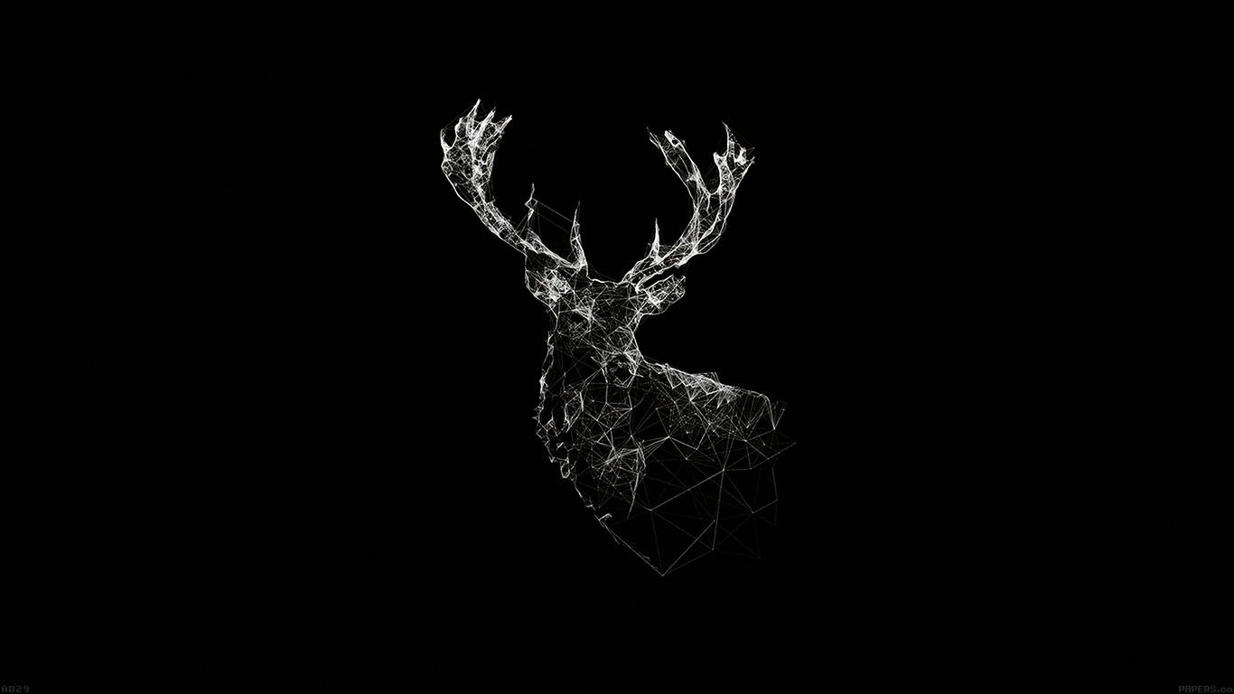Ad29 deer animal illust dark laptop backgrounds imagem - Animal black background wallpaper ...