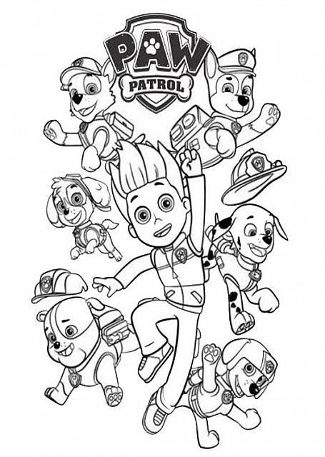 ryder jamie e i cuccioli disegni da colorare paw patrol