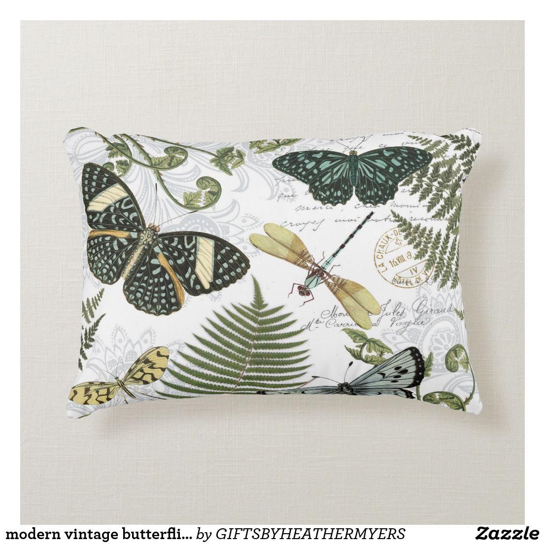 Modern Vintage Butterflies And Dragonflies Decorative Pillow