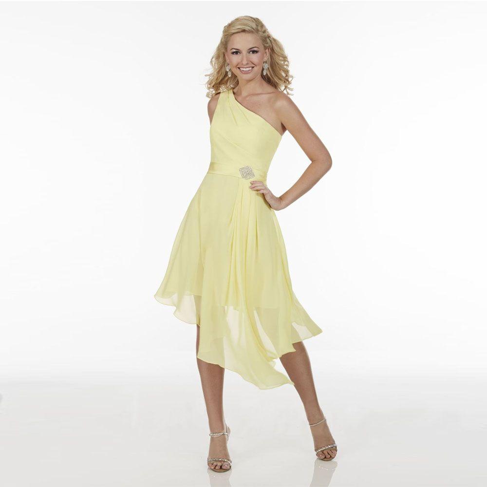 Click to buy 2017 yellow one shoulder chiffon hi lo junior click to buy 2017 yellow one shoulder chiffon hi lo junior bridesmaid ombrellifo Choice Image