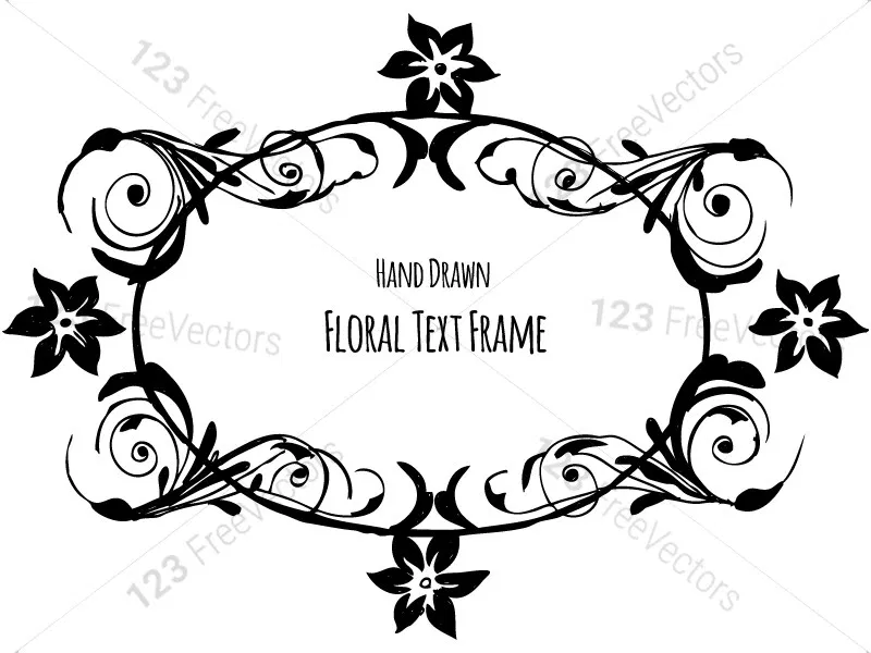 Hand Drawn Floral Text Frame Vector Brush Pack 03 Text Frame Vector Brush How To Draw Hands