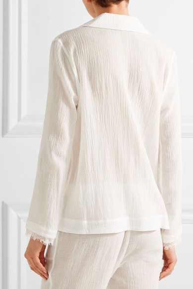 dd738af1b3bc8e Skin - Lace-trimmed Cotton-gauze Pajama Top - Off-white