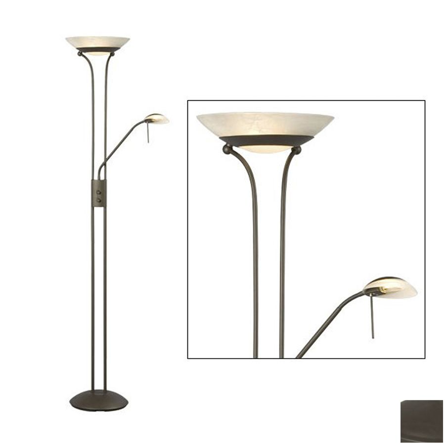 Shop Galaxy 70.88-in Matte Bronze Torchiere with Side-Light Indoor Floor Lamp with Glass Shade at Lowes.com