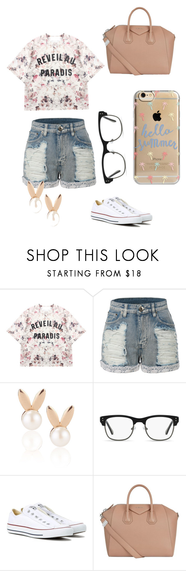 """""""Summer Days"""" by divergent-dino on Polyvore featuring Momewear, LE3NO, Aamaya by priyanka, GlassesUSA, Converse, Givenchy, Agent 18, Summer, summerstyle and summer2016"""