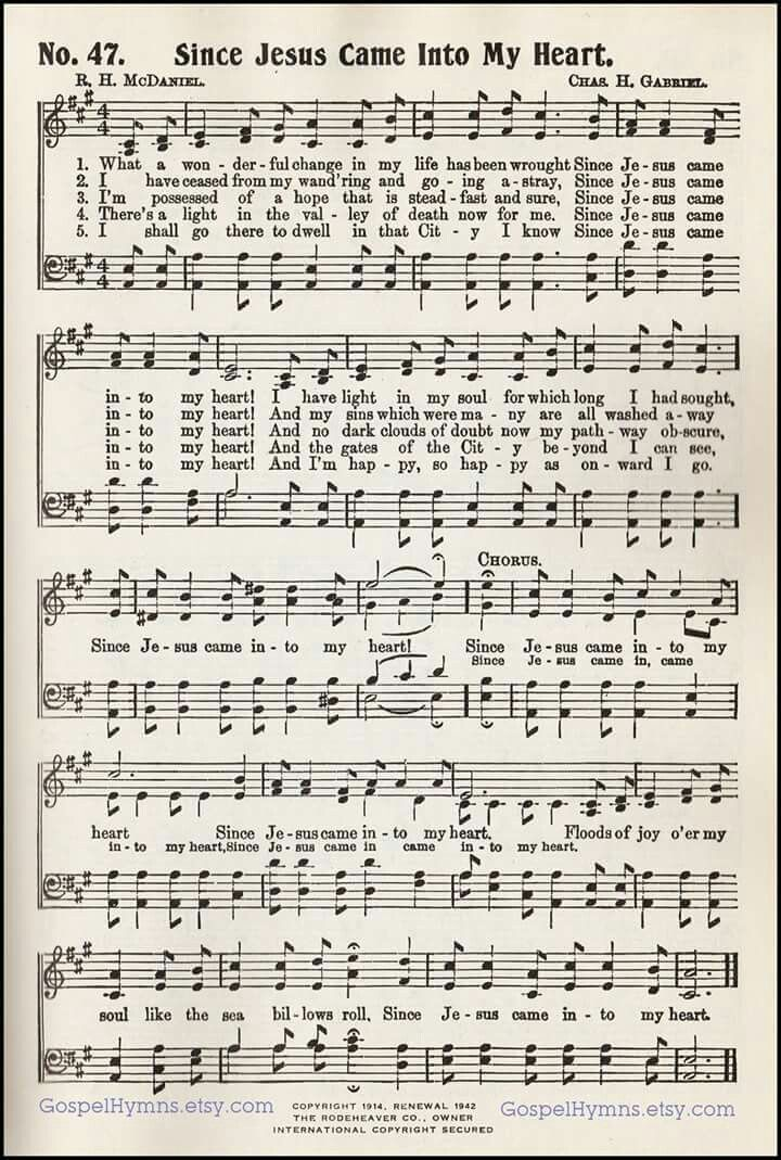 Since Jesus came into my heart | Favorite old hymns. | Pinterest ...