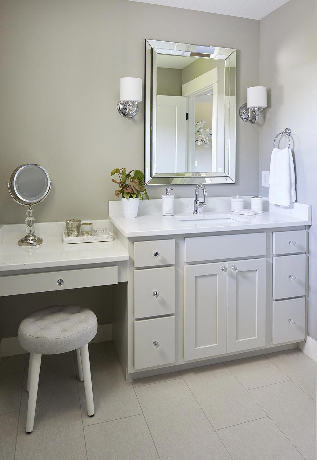 Girl S Bathroom With Makeup Vanity Gray And White Bathroom